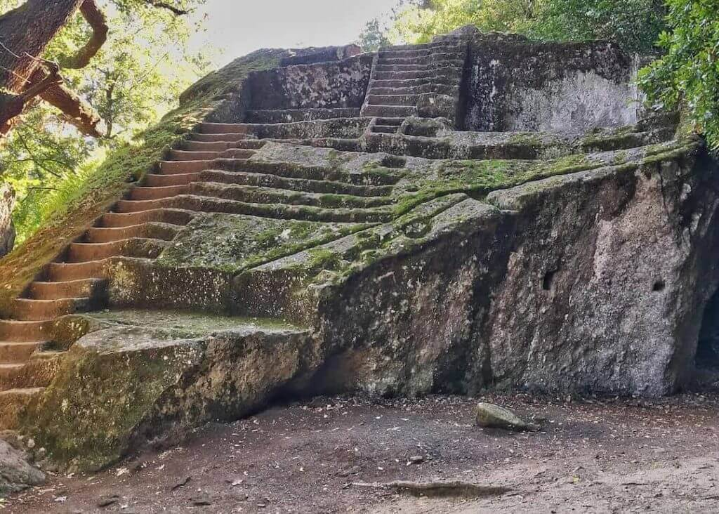 stairs in the wood Etruscan Pyramid of Bomarzo