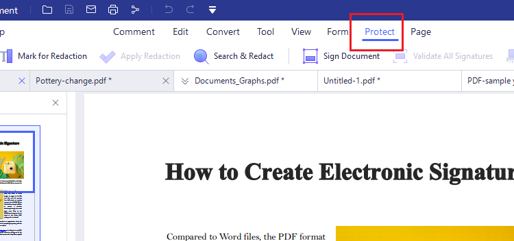 Encrypting PDF with PDFelement on Windows