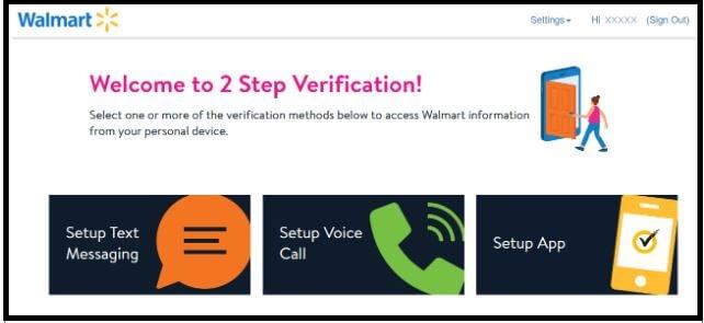 2 Step Verification at walmart